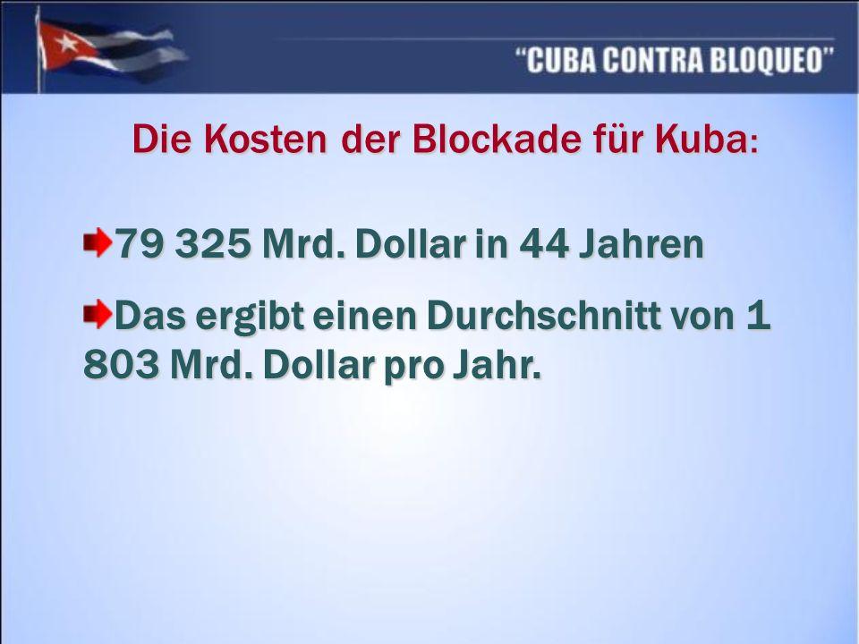 Die Kosten der Blockade für Kuba: