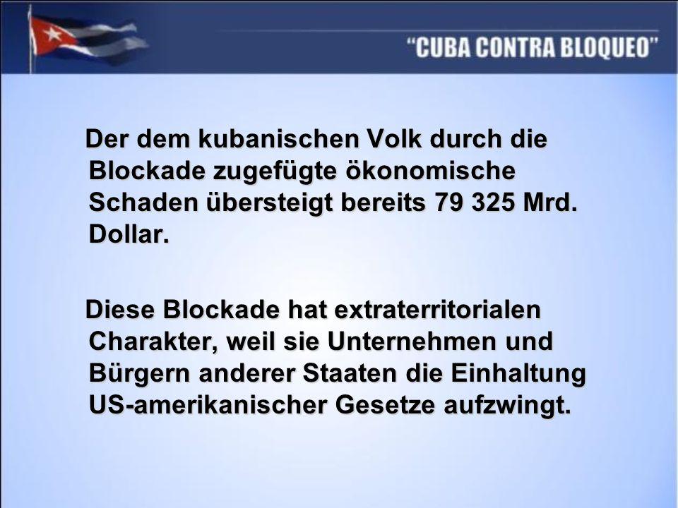 Der dem kubanischen Volk durch die Blockade zugefügte ökonomische Schaden übersteigt bereits 79 325 Mrd. Dollar.
