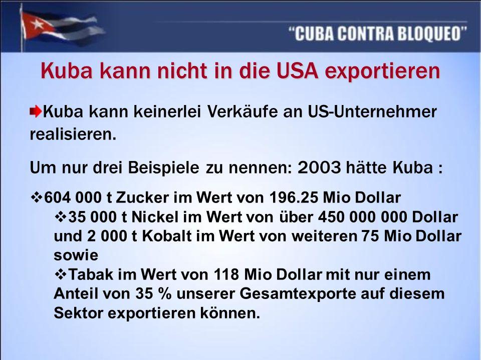 Kuba kann nicht in die USA exportieren