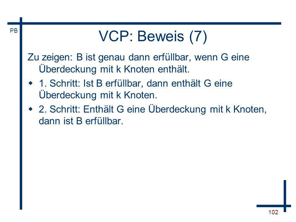 VCP: Beweis (7)Zu zeigen: B ist genau dann erfüllbar, wenn G eine Überdeckung mit k Knoten enthält.