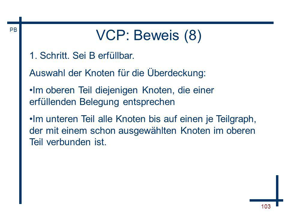 VCP: Beweis (8) 1. Schritt. Sei B erfüllbar.