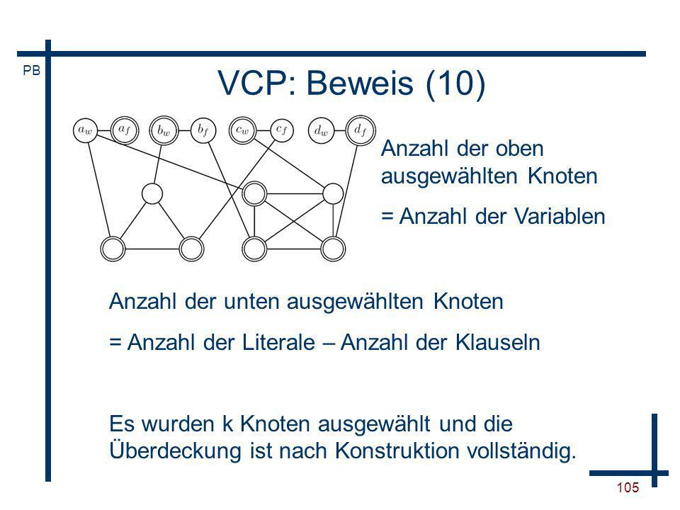 VCP: Beweis (10) Anzahl der oben ausgewählten Knoten