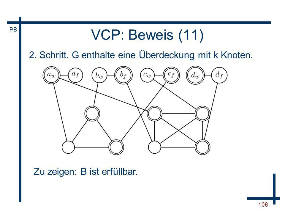 VCP: Beweis (11) 2. Schritt. G enthalte eine Überdeckung mit k Knoten.