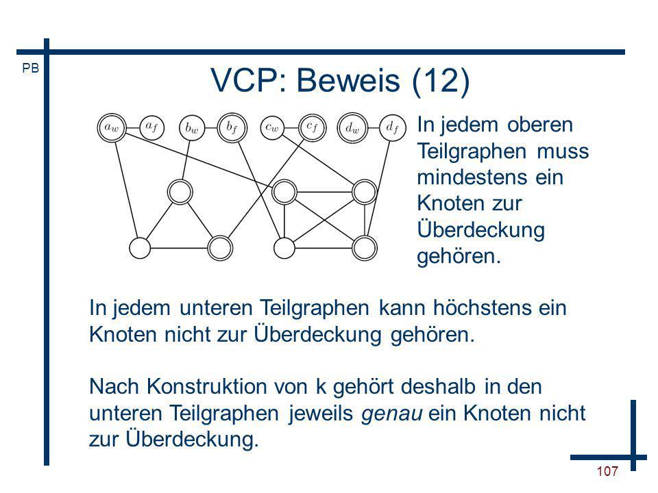 VCP: Beweis (12) In jedem oberen Teilgraphen muss mindestens ein Knoten zur Überdeckung gehören.