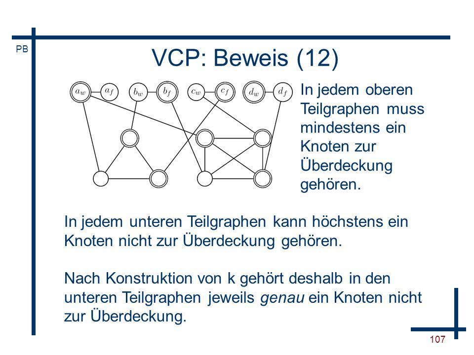 VCP: Beweis (12)In jedem oberen Teilgraphen muss mindestens ein Knoten zur Überdeckung gehören.