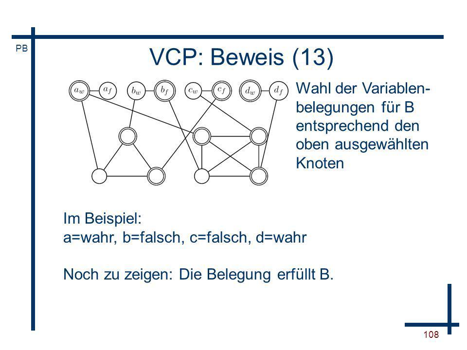 VCP: Beweis (13) Wahl der Variablen-belegungen für B entsprechend den oben ausgewählten Knoten. Im Beispiel: