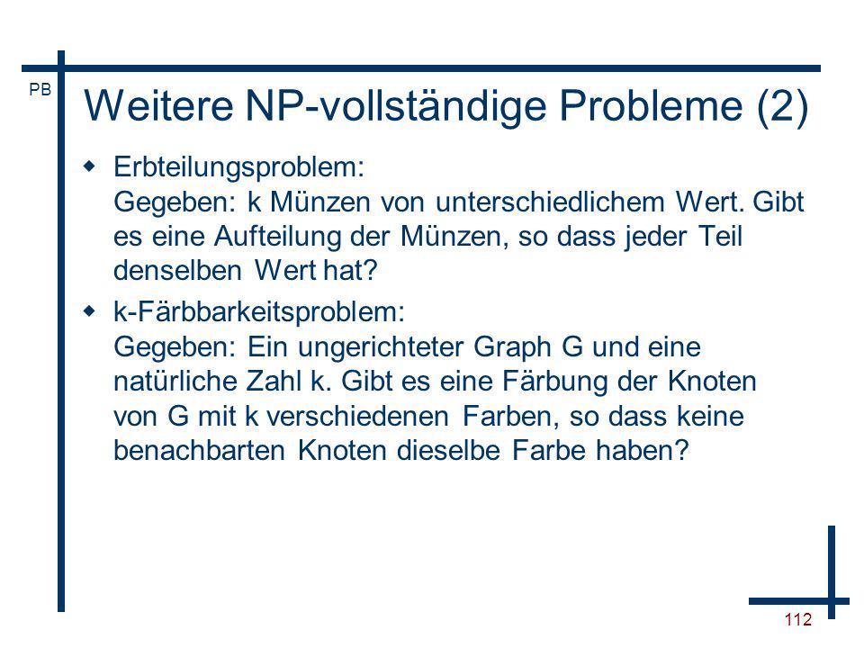 Weitere NP-vollständige Probleme (2)