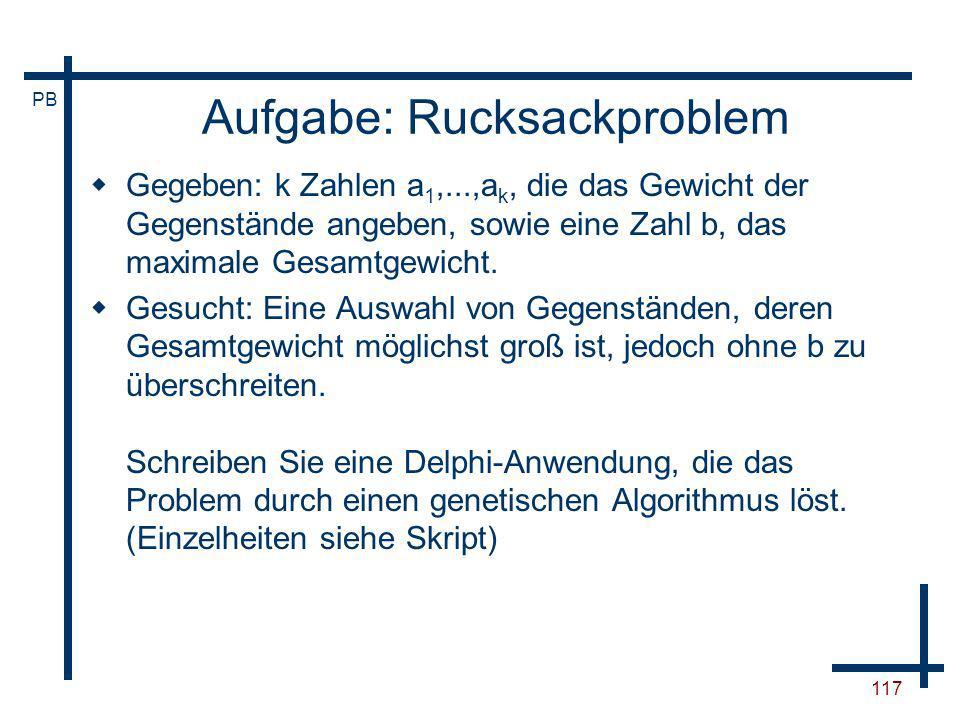 Aufgabe: Rucksackproblem