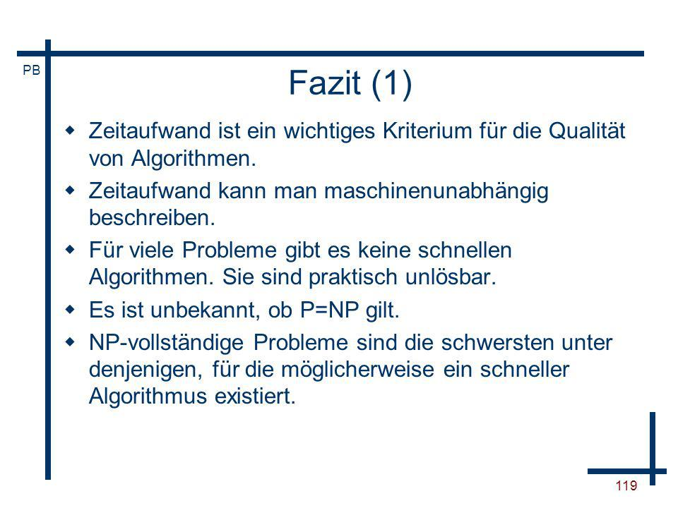 Fazit (1) Zeitaufwand ist ein wichtiges Kriterium für die Qualität von Algorithmen. Zeitaufwand kann man maschinenunabhängig beschreiben.