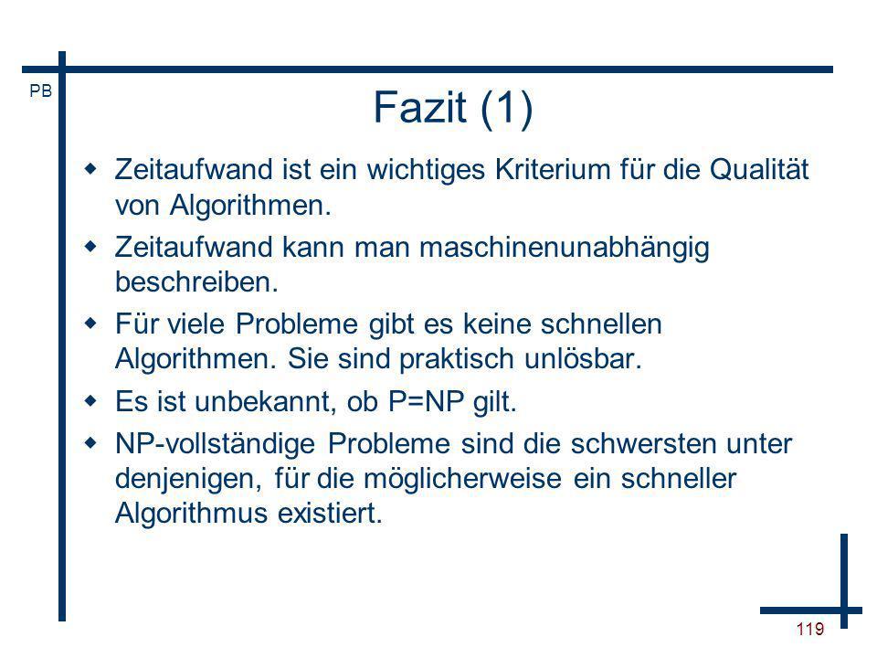 Fazit (1)Zeitaufwand ist ein wichtiges Kriterium für die Qualität von Algorithmen. Zeitaufwand kann man maschinenunabhängig beschreiben.