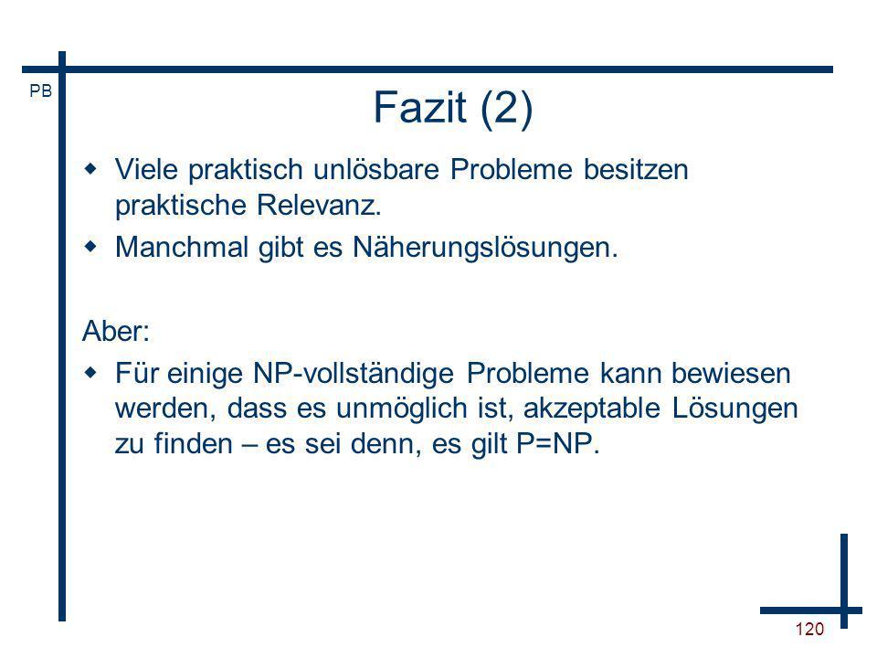 Fazit (2)Viele praktisch unlösbare Probleme besitzen praktische Relevanz. Manchmal gibt es Näherungslösungen.