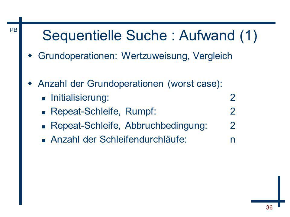 Sequentielle Suche : Aufwand (1)