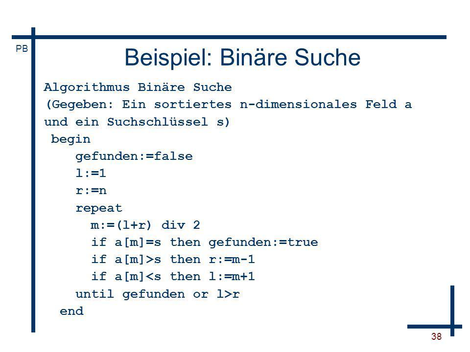Beispiel: Binäre Suche