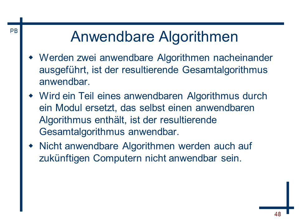 Anwendbare Algorithmen