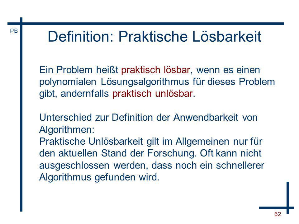 Definition: Praktische Lösbarkeit