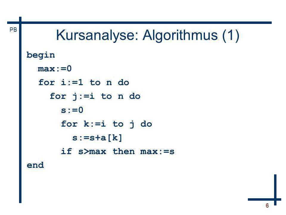 Kursanalyse: Algorithmus (1)