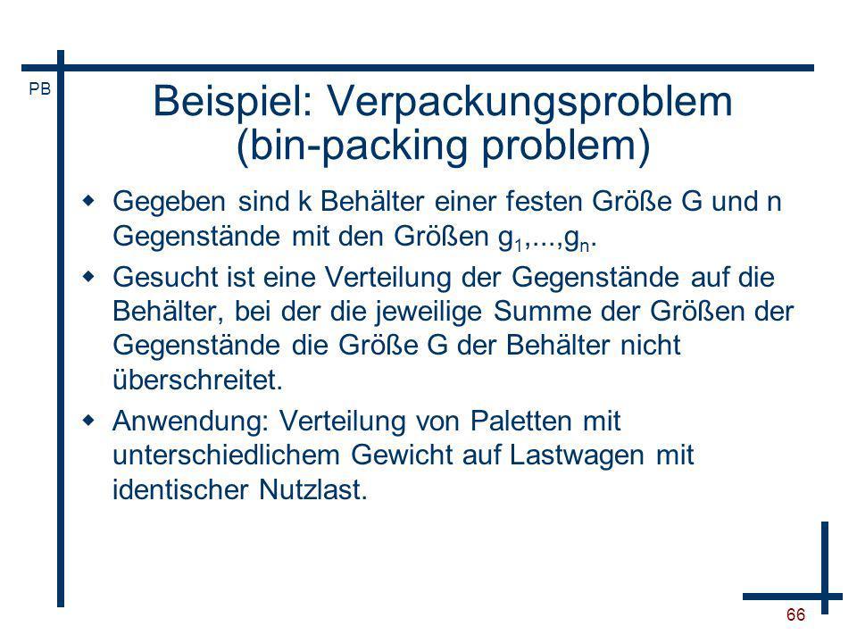 Beispiel: Verpackungsproblem (bin-packing problem)