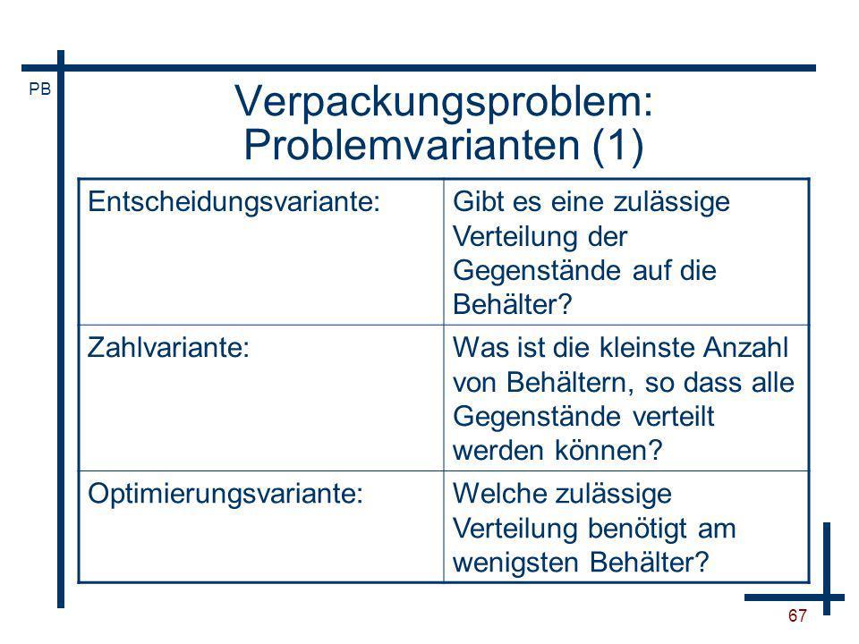 Verpackungsproblem: Problemvarianten (1)