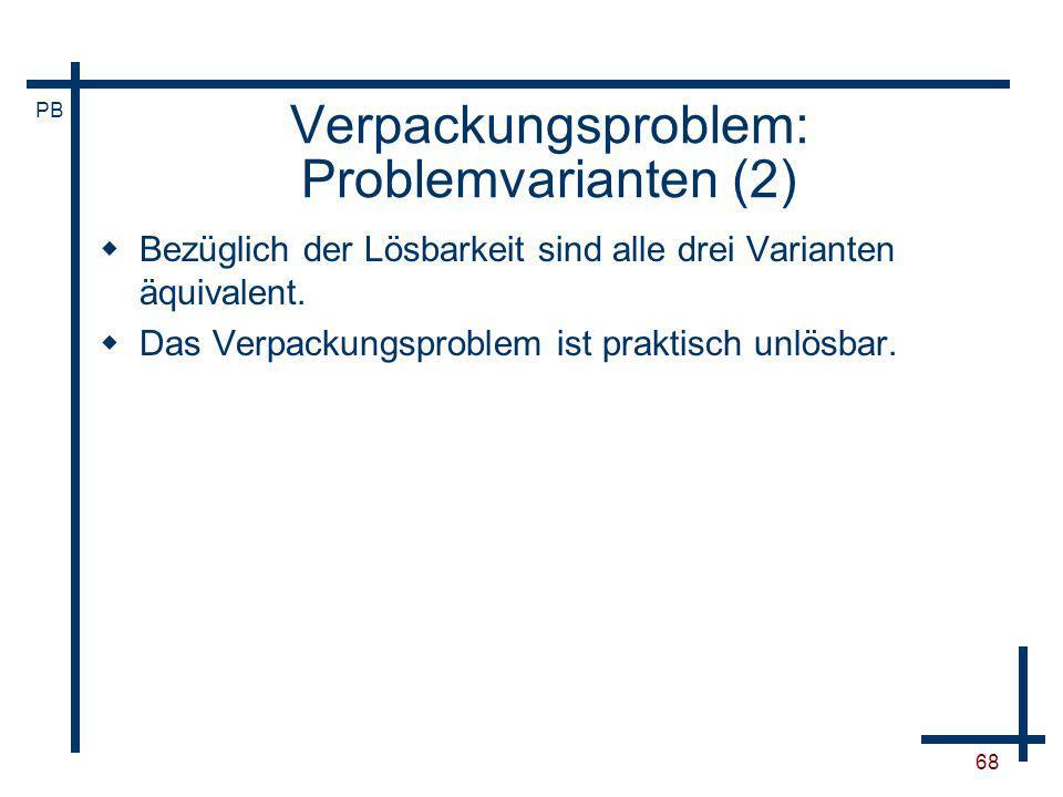 Verpackungsproblem: Problemvarianten (2)
