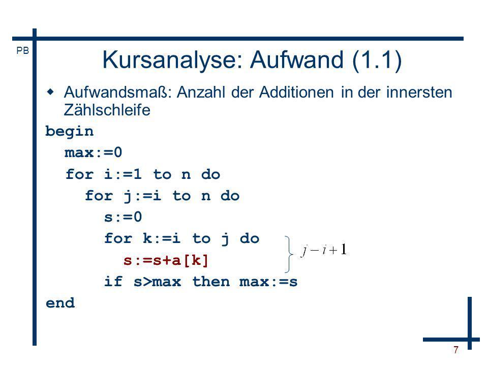 Kursanalyse: Aufwand (1.1)