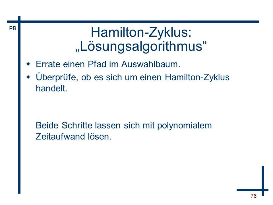 """Hamilton-Zyklus: """"Lösungsalgorithmus"""