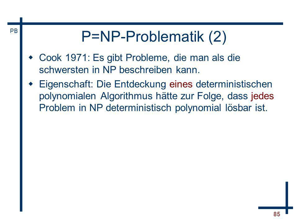 P=NP-Problematik (2) Cook 1971: Es gibt Probleme, die man als die schwersten in NP beschreiben kann.