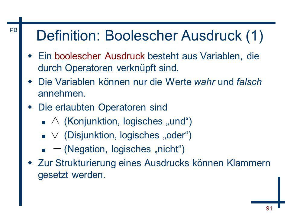 Definition: Boolescher Ausdruck (1)