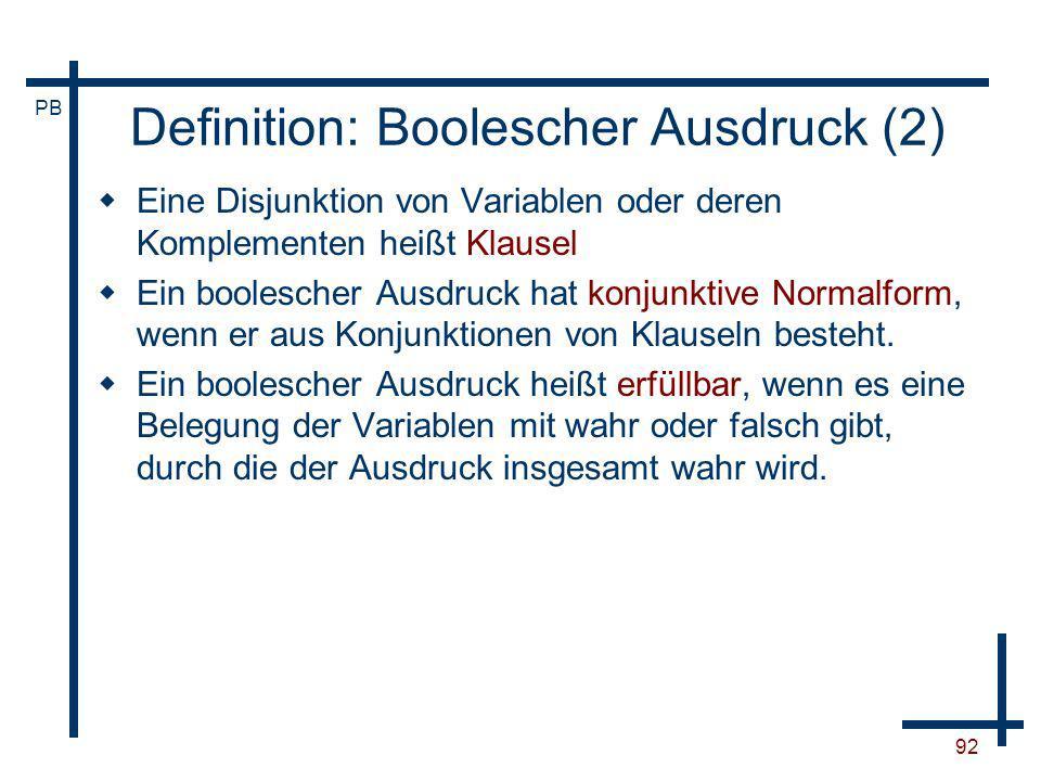 Definition: Boolescher Ausdruck (2)