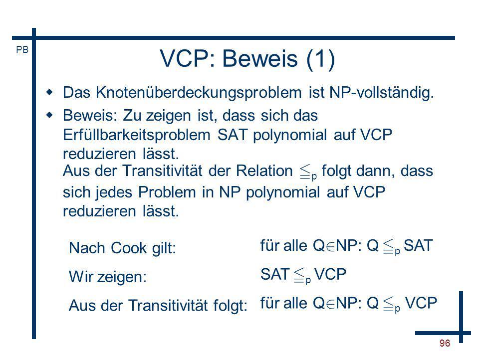 VCP: Beweis (1) Das Knotenüberdeckungsproblem ist NP-vollständig.