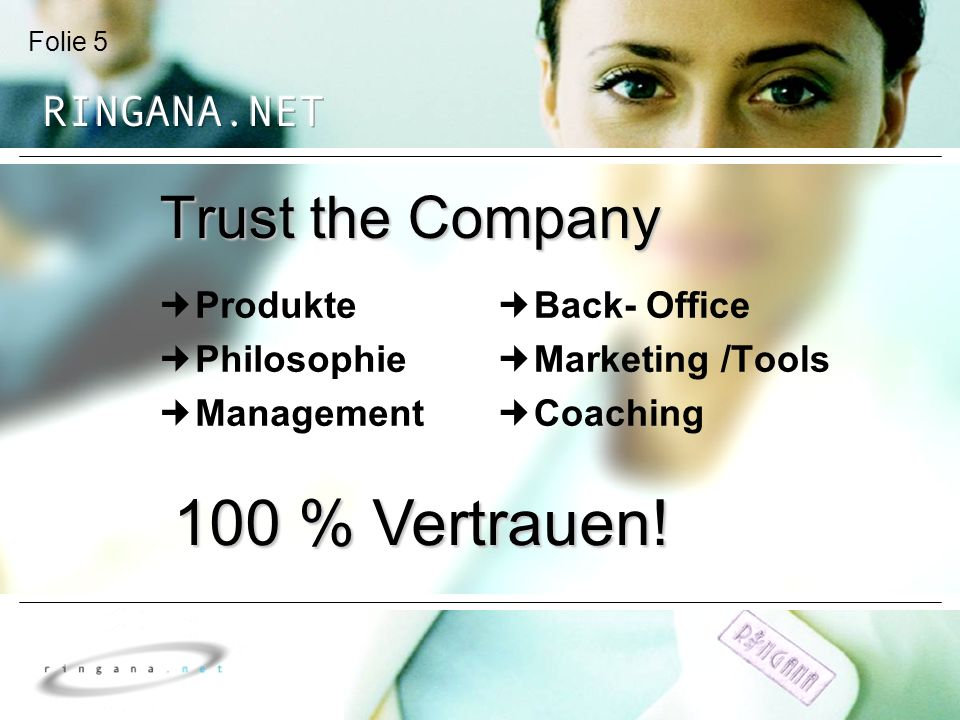 100 % Vertrauen! Trust the Company Produkte Philosophie Management