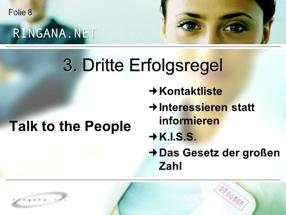 3. Dritte Erfolgsregel Talk to the People Kontaktliste