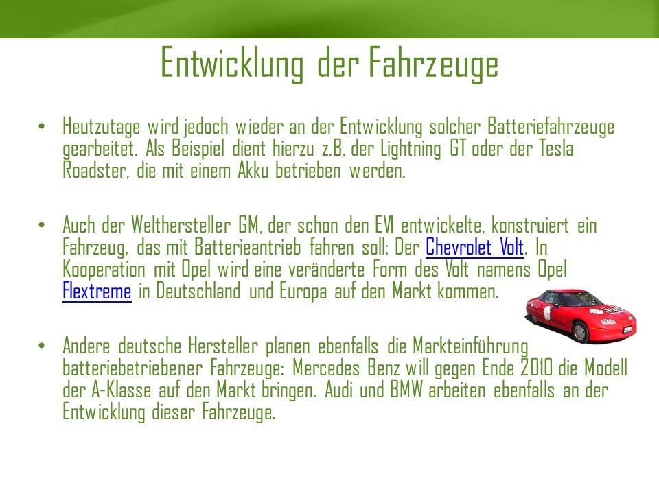 Entwicklung der Fahrzeuge