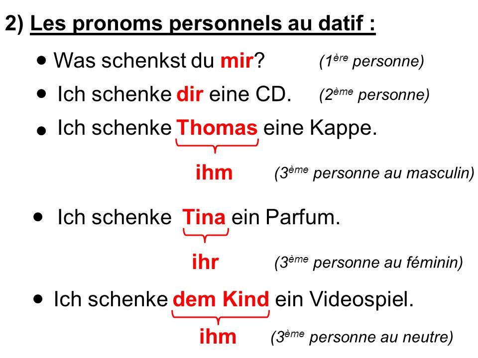 2) Les pronoms personnels au datif :