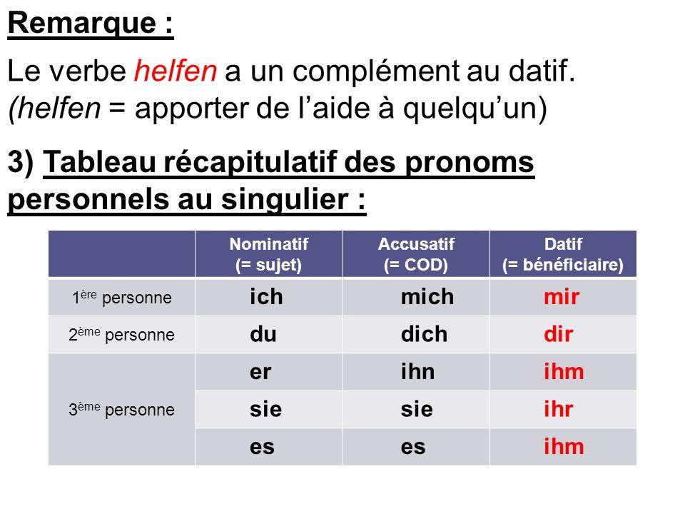 Le verbe helfen a un complément au datif.
