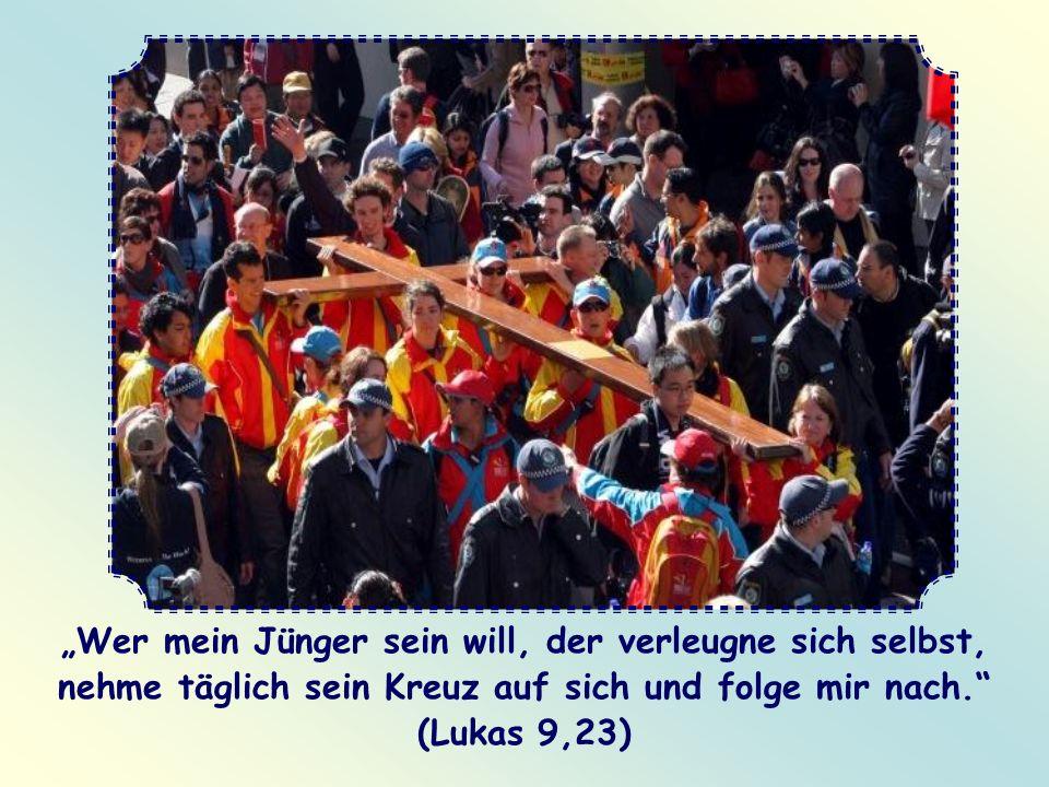 """""""Wer mein Jünger sein will, der verleugne sich selbst, nehme täglich sein Kreuz auf sich und folge mir nach. (Lukas 9,23)"""
