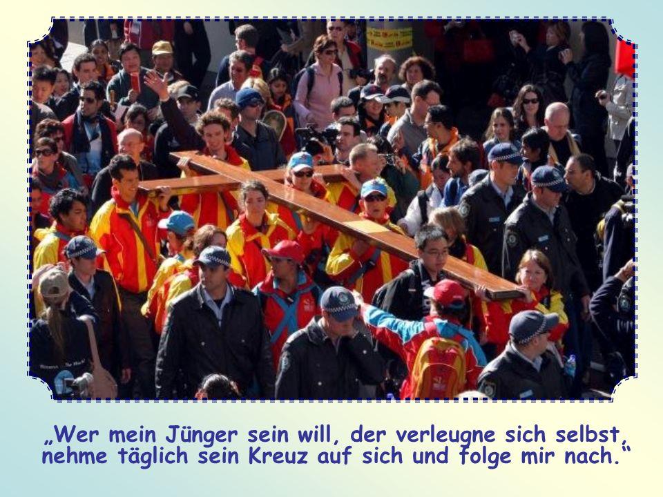 """""""Wer mein Jünger sein will, der verleugne sich selbst, nehme täglich sein Kreuz auf sich und folge mir nach."""