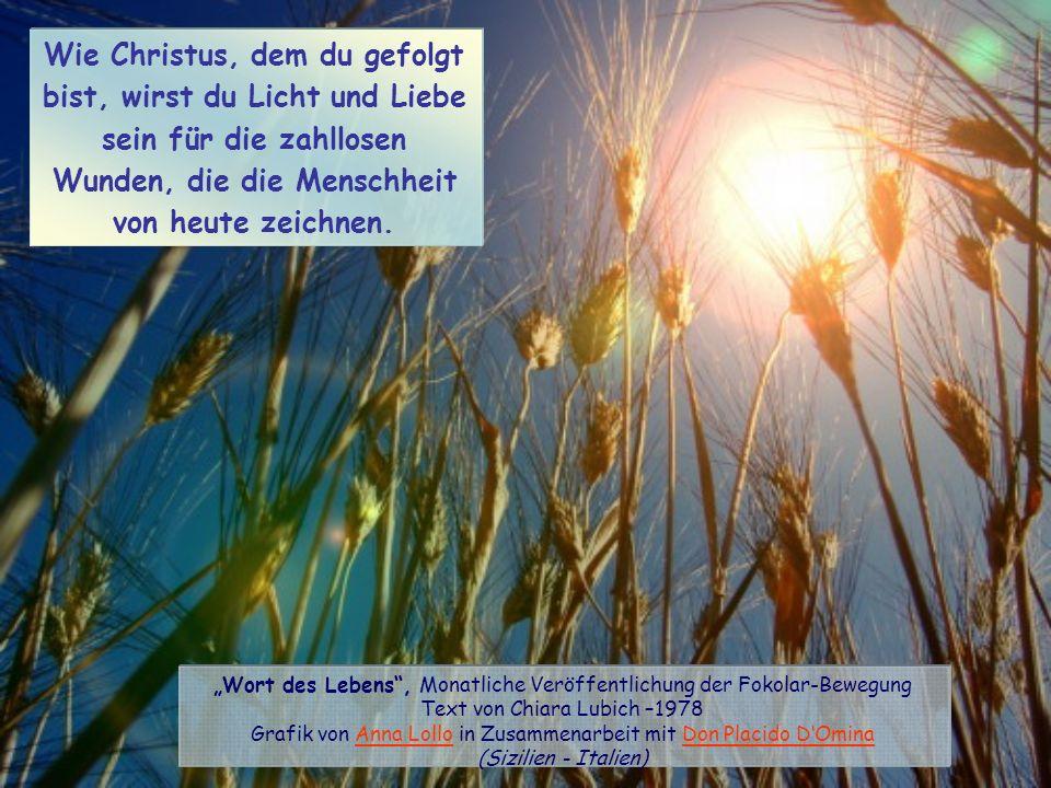 Wie Christus, dem du gefolgt bist, wirst du Licht und Liebe sein für die zahllosen Wunden, die die Menschheit von heute zeichnen.