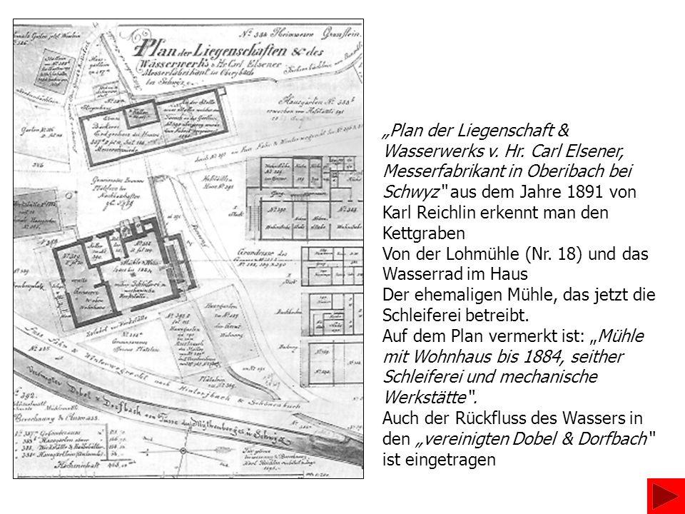 """""""Plan der Liegenschaft & Wasserwerks v. Hr. Carl Elsener,"""