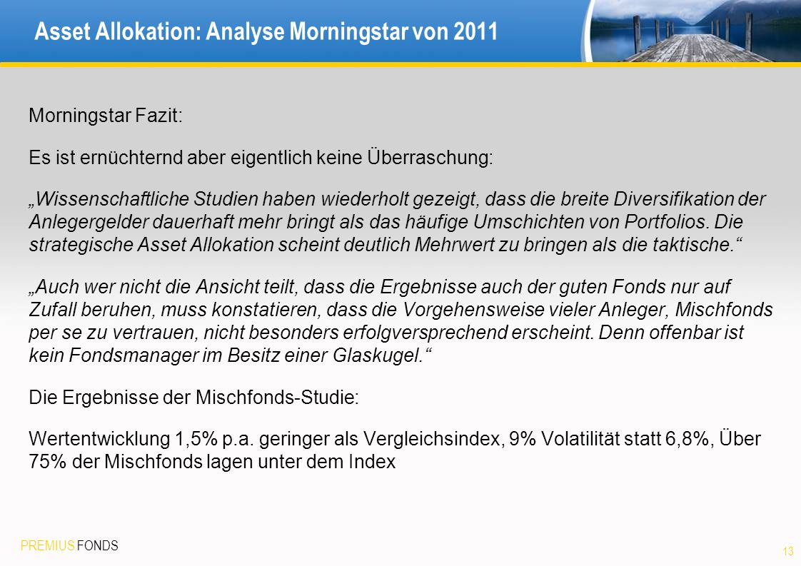 Asset Allokation: Analyse Morningstar von 2011