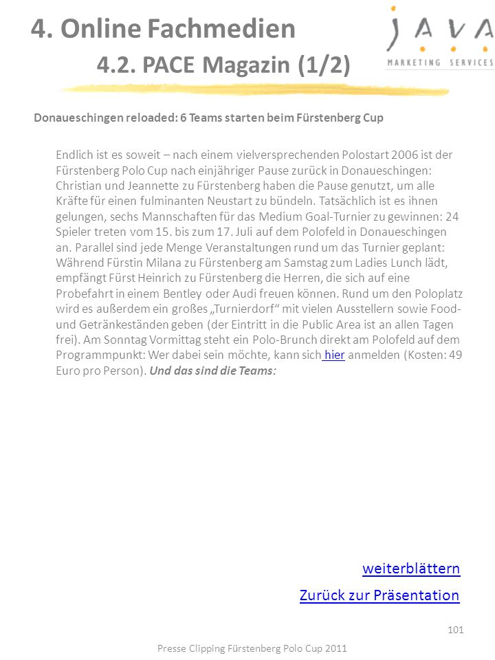 4. Online Fachmedien 4.2. PACE Magazin (1/2)