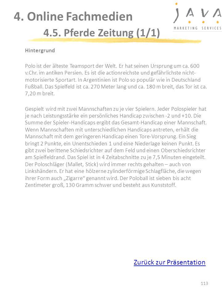 4. Online Fachmedien 4.5. Pferde Zeitung (1/1)