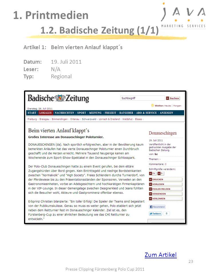 1. Printmedien 1.2. Badische Zeitung (1/1)