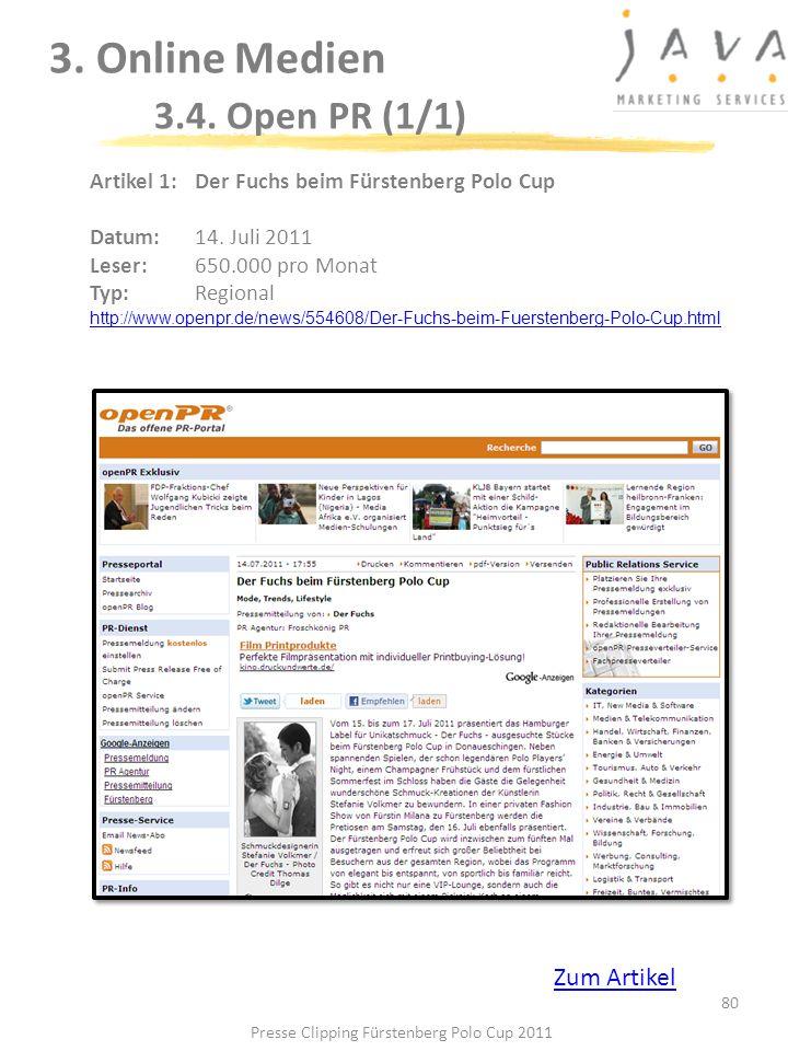 3. Online Medien 3.4. Open PR (1/1)