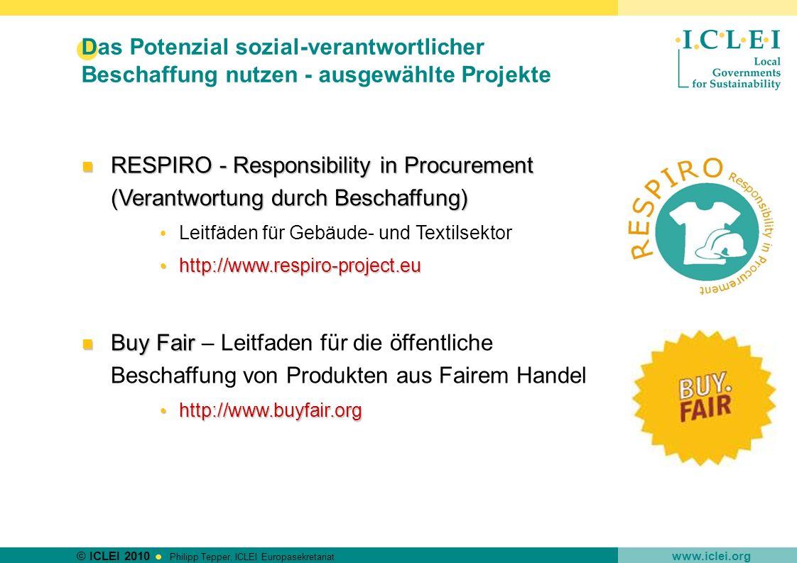 Das Potenzial sozial-verantwortlicher Beschaffung nutzen - ausgewählte Projekte