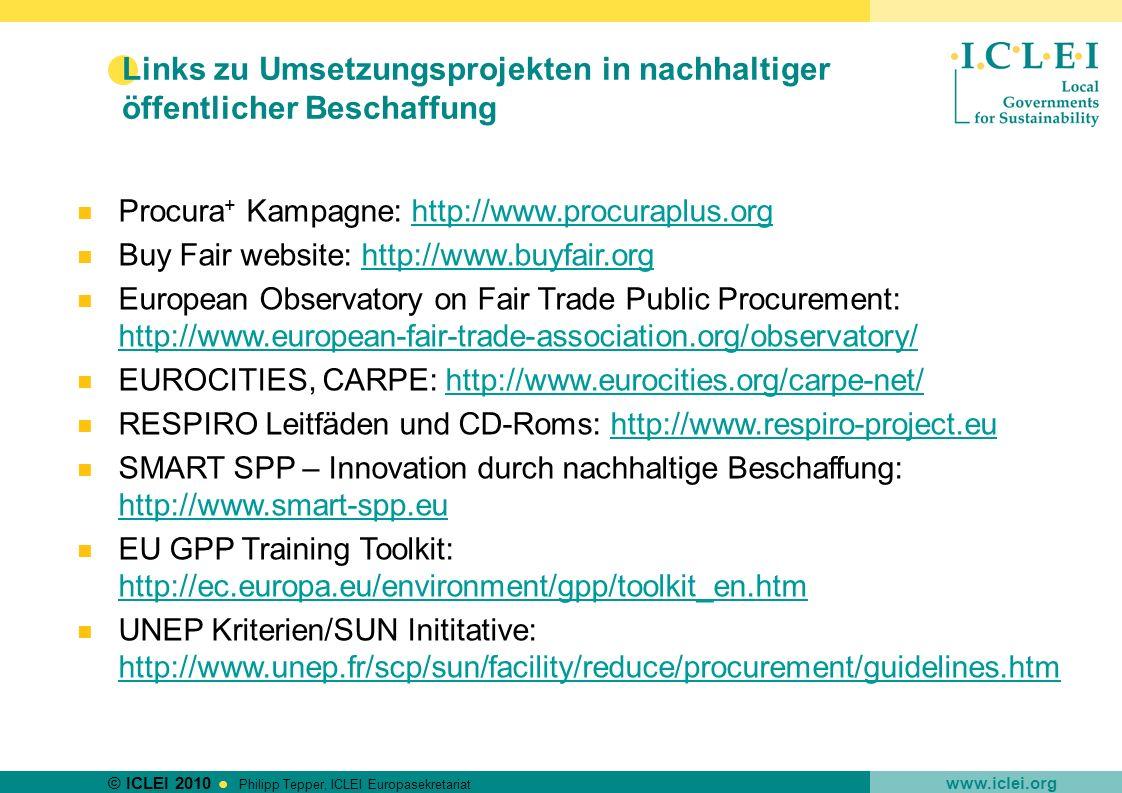 Links zu Umsetzungsprojekten in nachhaltiger öffentlicher Beschaffung