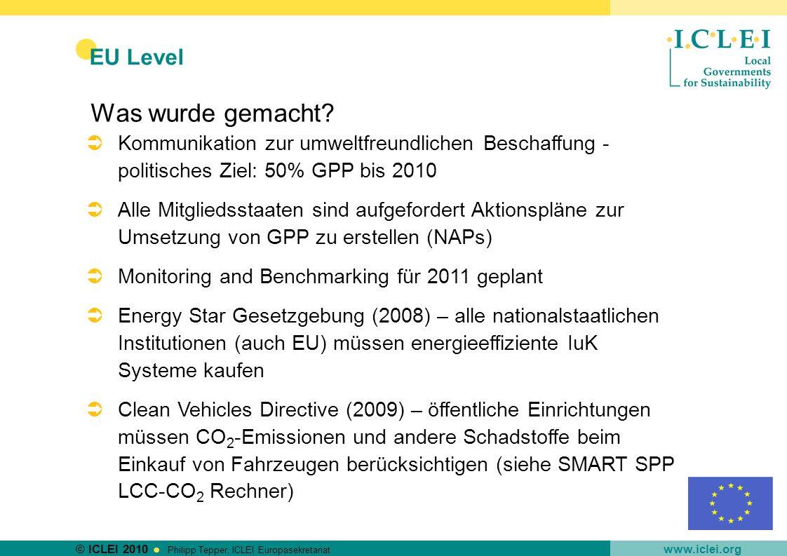 Was wurde gemacht EU Level
