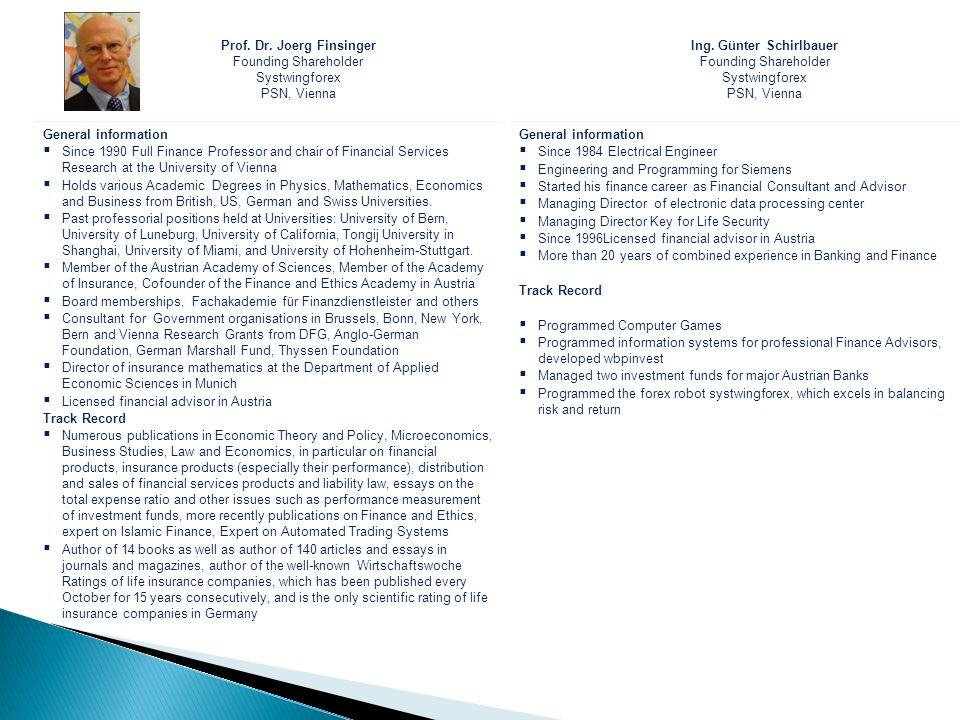Prof. Dr. Joerg Finsinger Ing. Günter Schirlbauer