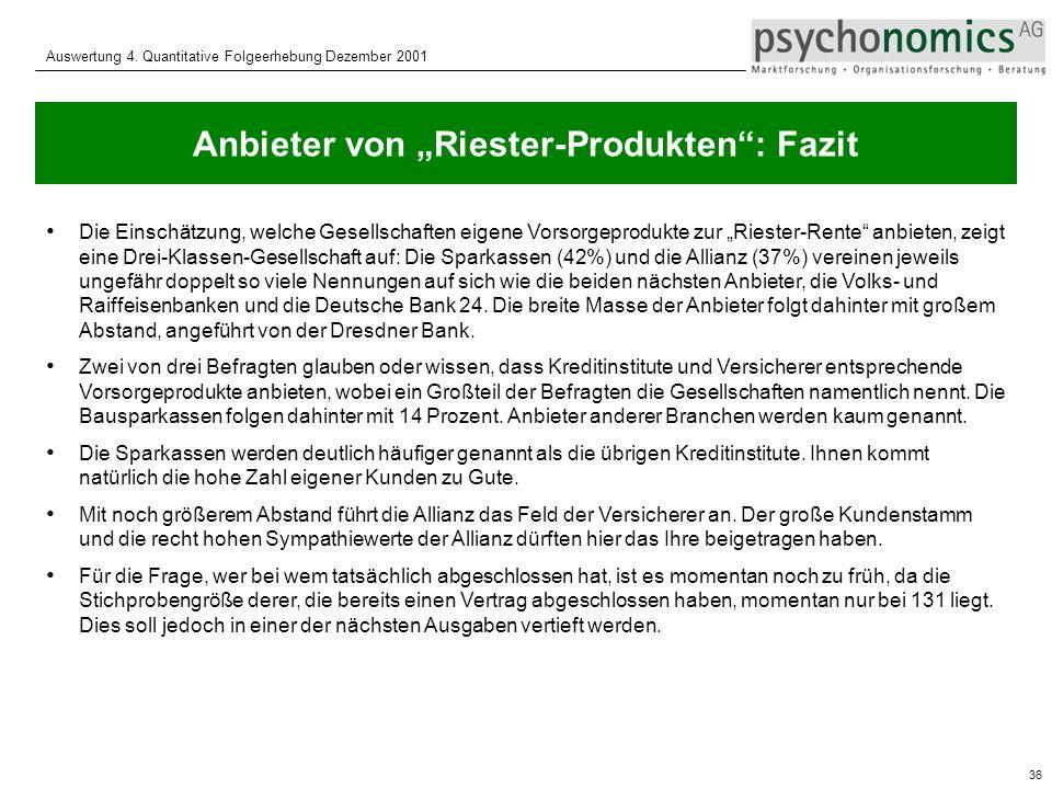 """Anbieter von """"Riester-Produkten : Fazit"""
