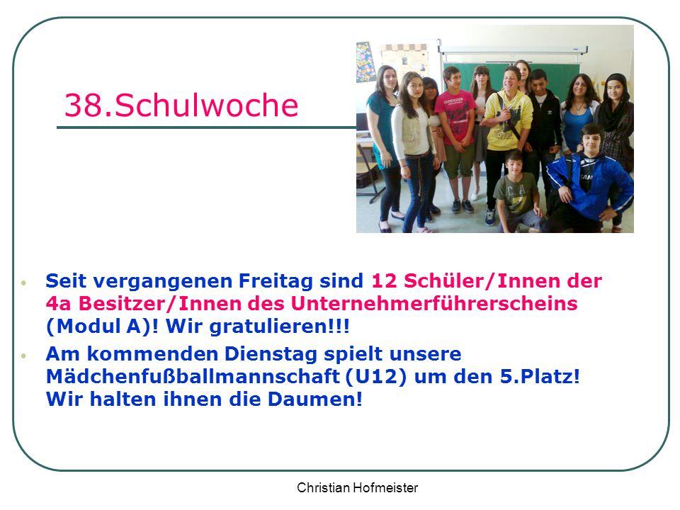 38.Schulwoche Seit vergangenen Freitag sind 12 Schüler/Innen der 4a Besitzer/Innen des Unternehmerführerscheins (Modul A)! Wir gratulieren!!!