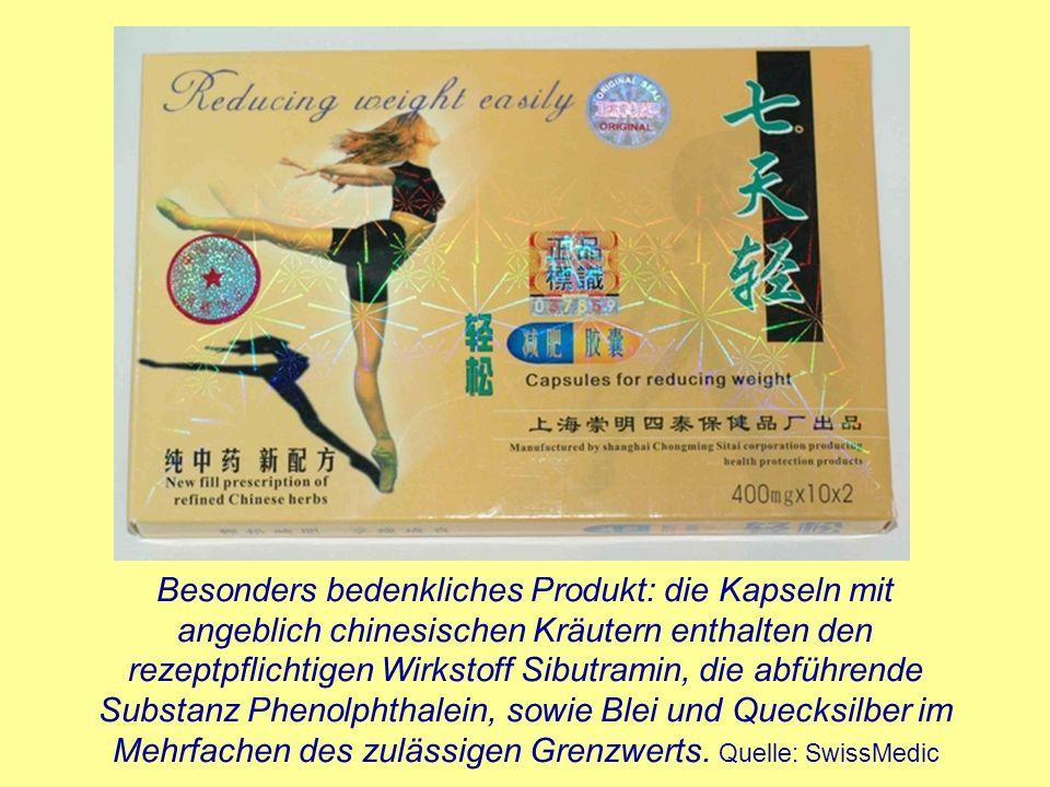 Besonders bedenkliches Produkt: die Kapseln mit angeblich chinesischen Kräutern enthalten den rezeptpflichtigen Wirkstoff Sibutramin, die abführende Substanz Phenolphthalein, sowie Blei und Quecksilber im Mehrfachen des zulässigen Grenzwerts.
